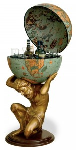 Image of Atlas Statue Floor Globe Bar