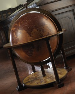 Photo of a bar globe in a home office