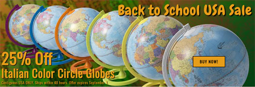 Color Circle globes sale - 25% off banner ad image